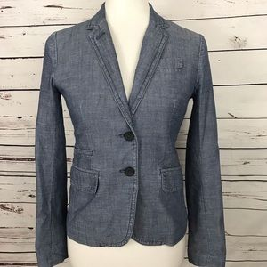 J. Crew Chambray Schoolboy Fitted Blazer Size 0